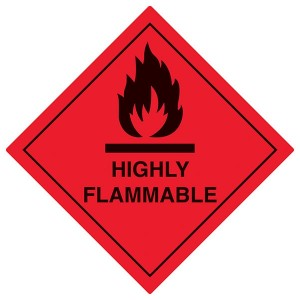Highly Flammable Symbol - Red - Diamond - Square