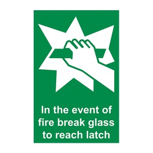 In The Event Of Fire Break Glass To Reach Latch - Portrait