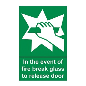In The Event Of Fire Break Glass To Release Door - Portrait