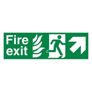 NHS Fire Exit Man Right Arrow Up Right - Landscape
