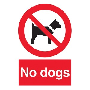 No Dogs - Red Background - Portrait