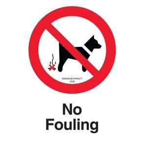 No Fouling - Maximum Penalty £500 - Portrait