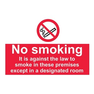 No Smoking In These Premises Except In A Designated Room - Landscape - Large