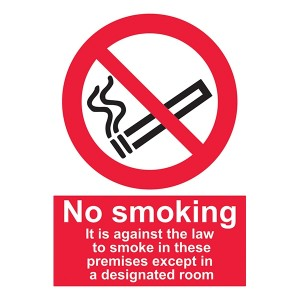 No Smoking Except In Designated Room - Portrait