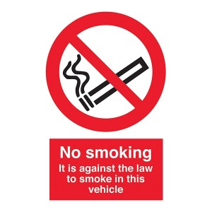 No Smoking - It Is Against The Law To Smoke In This Vehicle - Portrait