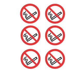 No Smoking Symbol Stickers - Circular
