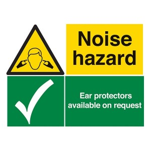 Noise Hazard / Ear Protectors Available On Request - Landscape - Large