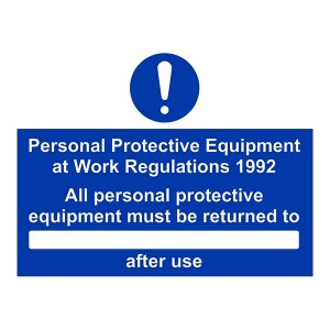 Personal Protective Equipment At Work Regulations 1992 With Blank - Landscape - Large