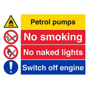 Petrol Pumps / No Smoking / No Naked Lights / Switch Off Engine- Landscape - Large