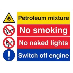 Petroleum Mixture / No Smoking / No Naked Lights / Switch Off Engine - Landscape - Large