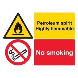 Petroleum Spirit Highly Flammable / No Smoking - Landscape - Large