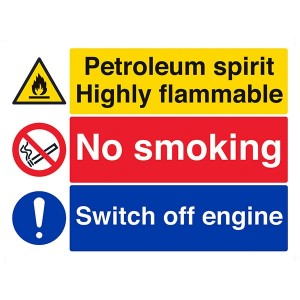 Petroleum Spirit Highly Flammable / No Smoking / Switch Off Engine - Landscape - Large