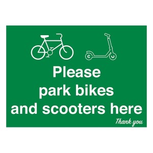 Please Park Bikes and Scooters Here - Landscape - Large