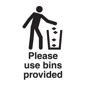 Please Use Bins Provided - White - Portrait