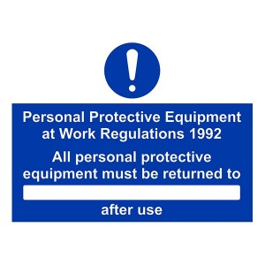 PPE Work Regulations - All Persons PPE Must Be Returned To After Use - Landscape - Large