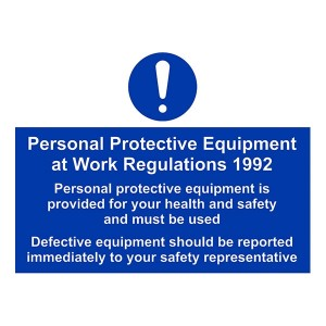 PPE Work Regulations - Defective Equipment Should Be Reported Immediately - Landscape - Large