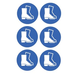 Safety Boots Symbol Stickers - Circular