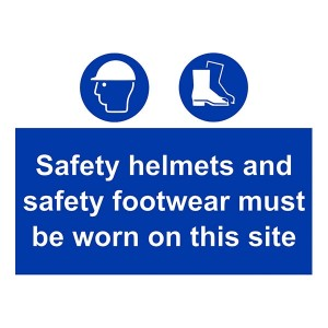 Safety Helmets And Footwear Must Be Worn On This Site - Landscape - Large