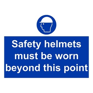 Safety Helmets Must Be Worn Beyond This Point - Landscape - Large