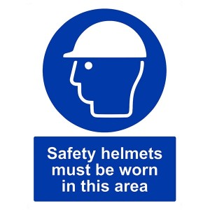Safety Helmets Must Be Worn In This Area - Portrait