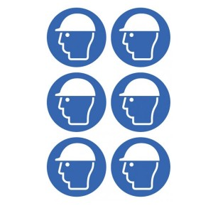 Safety Helmet Symbol Stickers - Circular