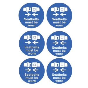 Seatbelts Must Be Worn Stickers - Circular