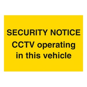 Security Notice - CCTV Operating In This Vehicle - Landscape - Large