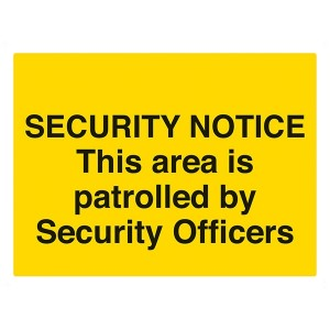 Security Notice: This Area Is Patrolled By Security Officers - Landscape - Large