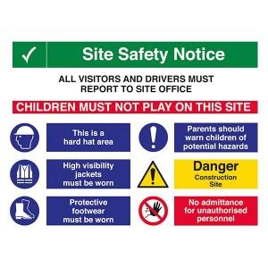 Site Safety - 2 COLUMNS - Hard Hat / High Visibility / Parents Warn Children / No Admittance - Landscape - Large