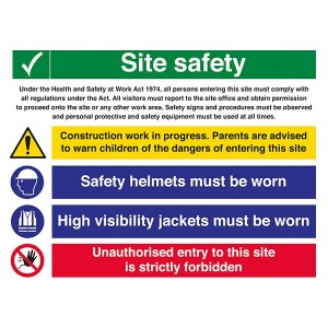 Site Safety - Work In Progress / Safety Helmets / High Visibility / Unauthorised Entry - Landscape - Large