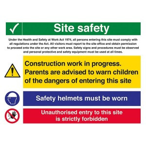 Site Safety - Work In Progress / Safety Helmets / Unauthorised Entry - Landscape - Large