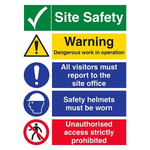 Site Safety - Dangerous Work / All Visitors Must Report / Safety Helmets - Portrait