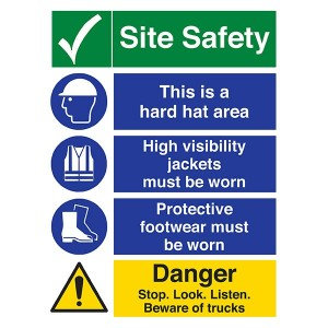 Site Safety - Hard Hat Area / High Visibility / Footwear / Stop. Look. Listen - Portrait