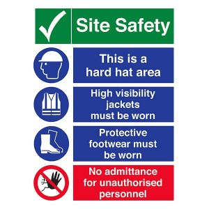 Site Safety - Hard Hat Area / High Visibility / Footwear / No Admittance - Portrait
