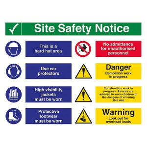 Site Safety - 2 COLUMNS - Hard Hat / Ear Protectors / Demolition / Overhead Loads - Landscape - Large