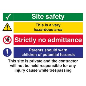 Site Safety - Hazardous Area / Strictly No Admittance / Worn Children / Private Site - Landscape - Large