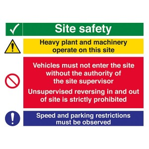 Site Safety - Heavy Plant / Vehicles Must Not Enter / Speed And Parking - Landscape - Large
