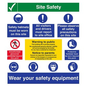 Site Safety - Safety Helmets / Must Report / Safety Precautions / Equipment - Portrait