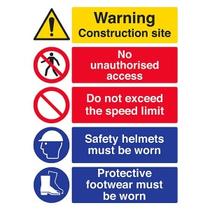 Site Safety - Construction Site / Do Not Exceed Speed Limit / Protective Footwear - Portrait