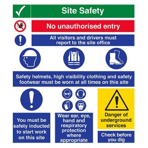Site Safety - Unauthorised Entry / All Visitors Report / Safety Inducted / Check Before Dig - Portrait
