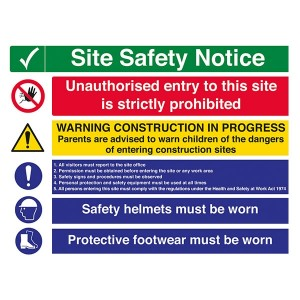 Site Safety - Unauthorised Entry / Warning Construction / Safety Helmets / Footwear - Landscape - Large