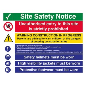 Site Safety - Unauthorised Entry / Warning Construction / Safety Helmets / High Visibility / Footwear - Landscape - Large