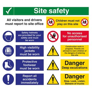 Site Safety / All Visitors Must Report / Children Must Not Play / Safety Helmets - Landscape - Large