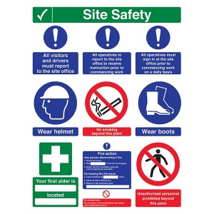 Site Safety - Must Report / Sign In / No Smoking / Wear Boots / First Aider - Portrait