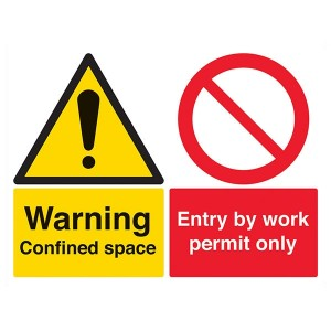 Warning Confined Space / Entry By Work Permit Only - Landscape - Large
