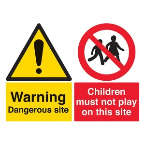 Warning Dangerous Site / Children Must Not Play On This Site - Landscape - Large