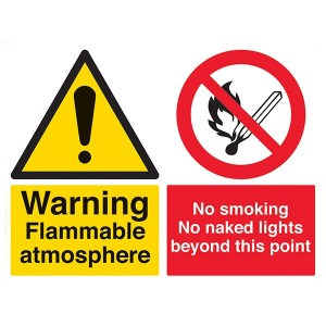 Warning Flammable Atmosphere / No Smoking / No Naked Lights Beyond This Point - Landscape - Large
