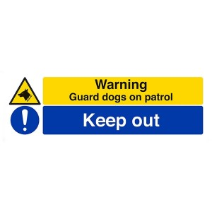 Warning Guard Dogs On Patrol / Keep Out - Landscape