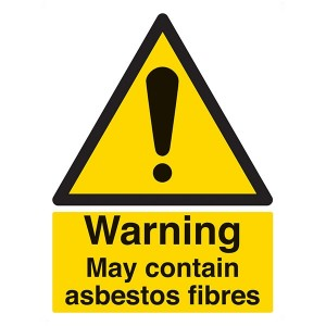 Warning May Contain Asbestos Fibres - Portrait