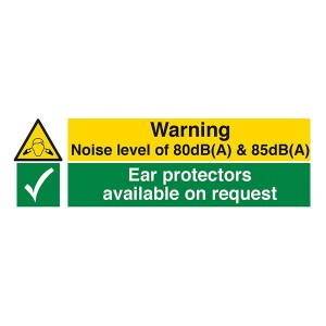 Warning Noise Level Of 80dB(A) And 85dB(A) / Ear Protectors Available - Landscape
